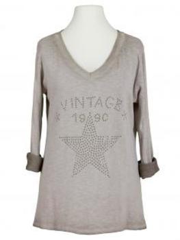 Shirt Print langarm, taupe (Bild 1)