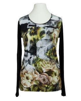 Shirt Rosenprint, schwarz