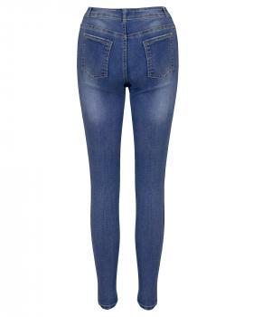 Skinny Jeans mit Streifen, blau