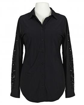 Stretch Bluse mit Spitze, schwarz