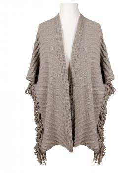 Strick Poncho Fransen, taupe