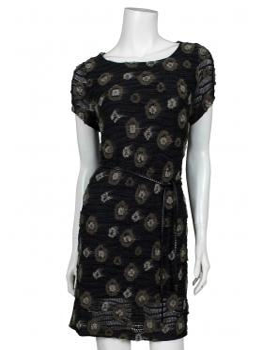 Strick Tunika Kleid, schwarz grau