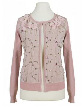 Strickjacke Blütenstickerei, rosa von Lamer & Co