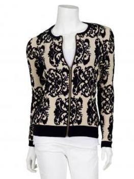 Strickjacke mit Zipper, schwarz creme von Lulu Love Frankreich