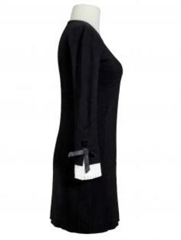 Strickkleid mit Plissee, schwarz