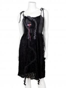 Strickkleid mit Spitze, schwarz von For Her Paris (Bild 1)
