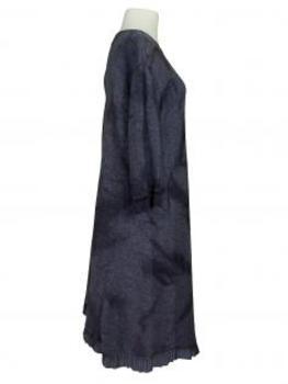 Strickkleid mit Volant, blau