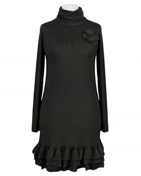 Stricktunika mit Volant, schwarz von fashion made in italy