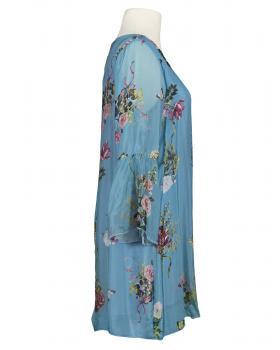Tunika Blumenmuster mit Seide, blau (Bild 2)
