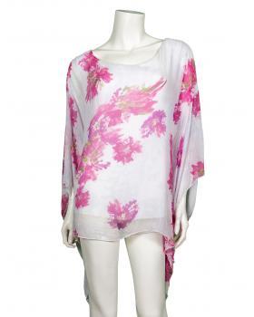 Tunika Bluse aus Seide, weiss pink von Montan