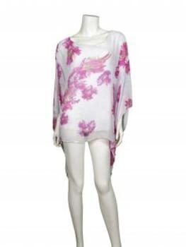 Tunika Bluse aus Seide, weiss pink (Bild 2)