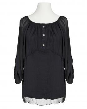 Tunika Bluse Häkelbordüre, schwarz von ever new fashion (Bild 1)
