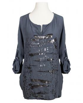 Tunika Bluse mit Print, grau
