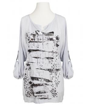 Tunika Bluse mit Print, hellgrau von RESTART