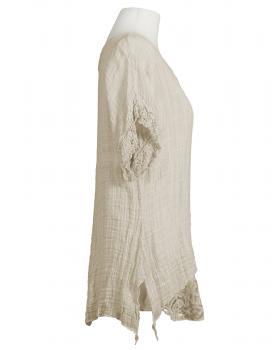 Tunika Bluse mit Seide, beige