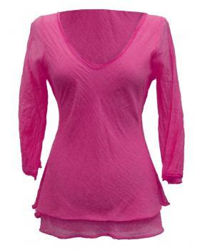 Tunika Bluse mit Seide, pink