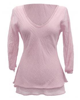 Tunika Bluse mit Seide, rosa von RESTART