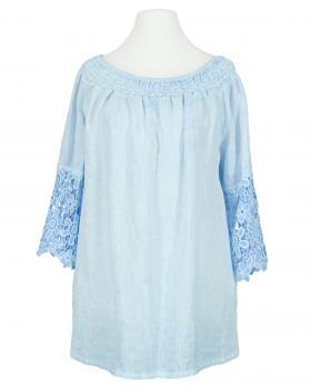 Tunika Bluse mit Spitze, blau