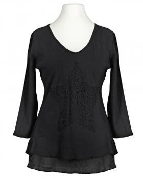 Tunika Bluse mit Spitze, schwarz