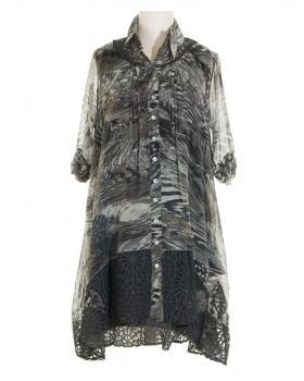 Tunika Kleid mit Seide 2-tlg., grau