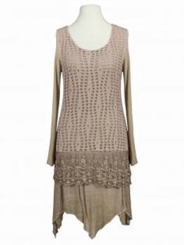 Tunika Kleid mit Spitze, beige (Bild 1)