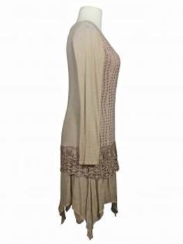 Tunika Kleid mit Spitze, beige (Bild 2)