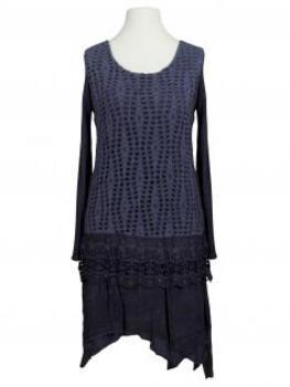 Tunika Kleid mit Spitze, blau