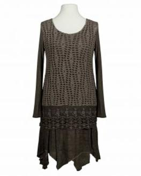 Tunika Kleid mit Spitze, braun von Spaziodonna