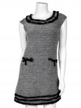 Damen Kleid mit Spitze, grau