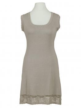 Tunika Kleid mit Spitze, taupe