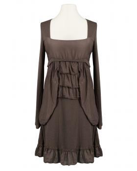 Tunika Kleid mit Volant, braun