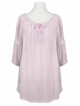 Tunika Bluse Häkelspitze, rosa