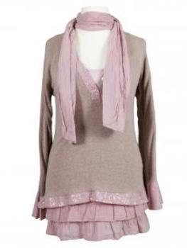 Tunika mit Schal 3-tlg., rosa