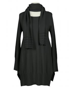 Tunika Pullover mit Schal, schwarz