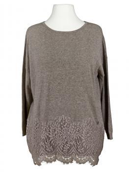 Tunika Pullover mit Spitze, braun (Bild 1)