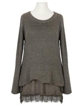 Tunika Pullover mit Spitze, braun von Cocoomin