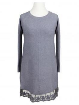 Tunika Pullover mit Spitze, grau