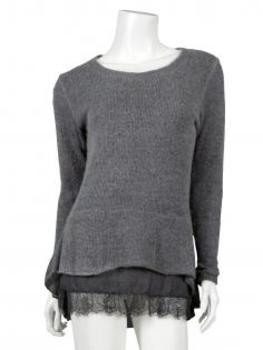 Tunika Pullover mit Spitze, grau (Bild 1)