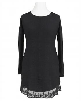 Tunika Pullover mit Spitze, schwarz