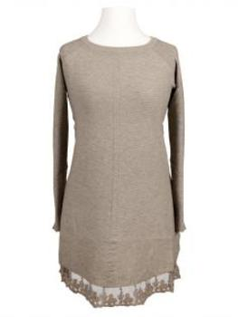 Tunika Pullover mit Spitze, taupe