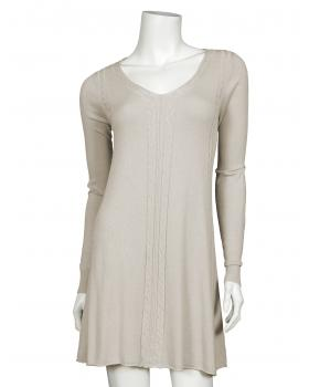 Long Pullover Zopfmuster, beige