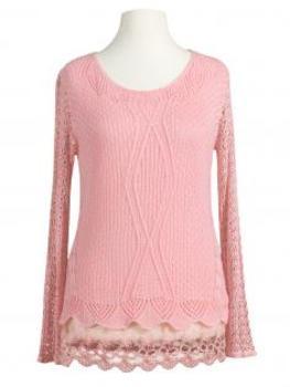 Tunika Shirt mit Spitze, rosa von Italia Moda