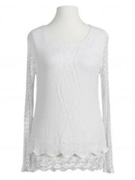 Tunika Shirt mit Spitze, weiss von Italia Moda (Bild 1)