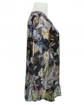 Tunikabluse Floral mit Seide, schwarz (Bild 2)