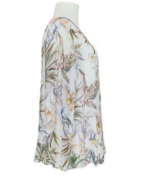 Tunikabluse Floral mit Seide, weiss (Bild 2)