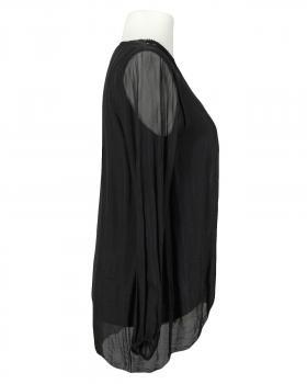Tunikabluse Seide, schwarz