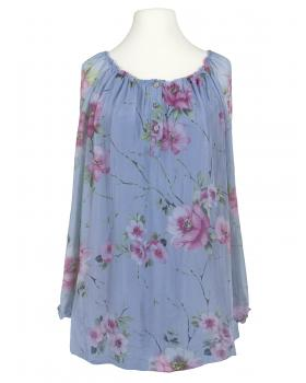 Tunikabluse Seide Floral, blau von Esvivid