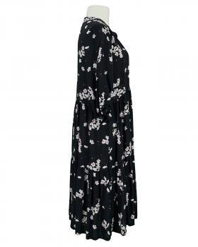 Tunikakleid Blumenprint, schwarz