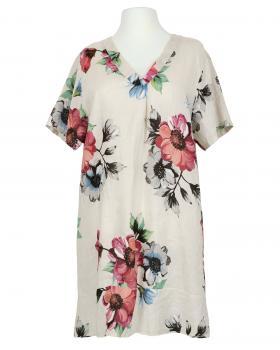 Tunikakleid Leinen Floral, beige