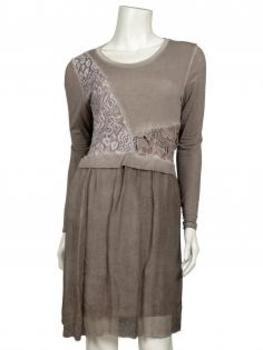 Tunika Kleid mit Spitze, schlamm
